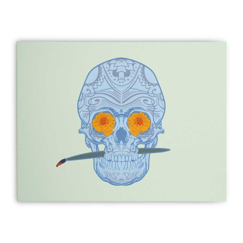 Sugar Skull white Home Stretched Canvas by Dedos tees