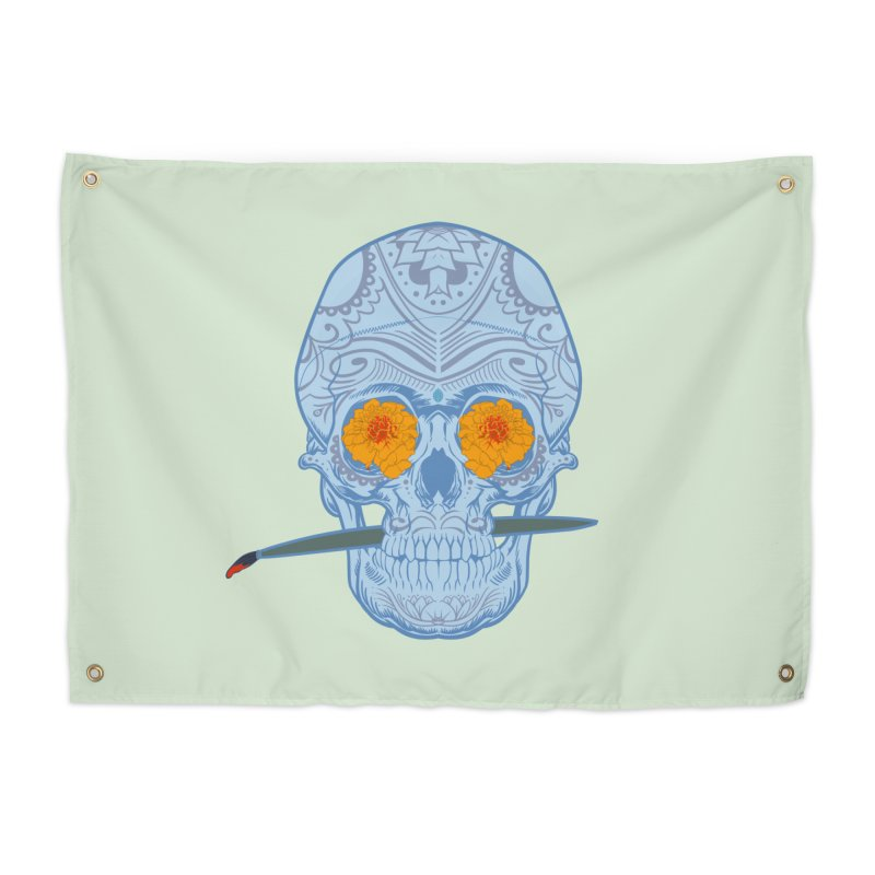 Sugar Skull white Home Tapestry by Dedos tees