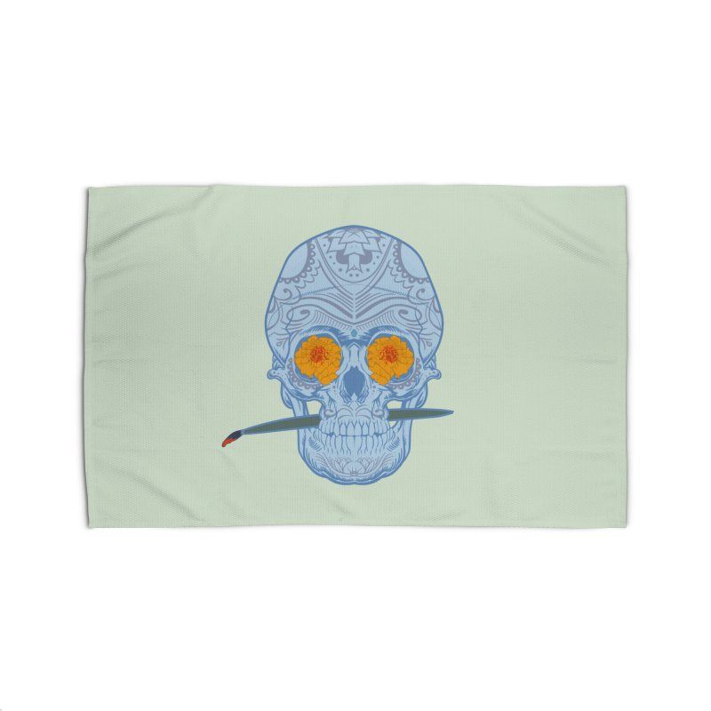 Sugar Skull white Home Rug by Dedos tees