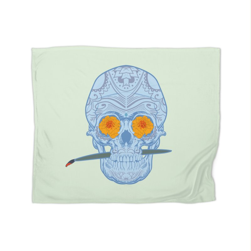 Sugar Skull white Home Fleece Blanket by Dedos tees