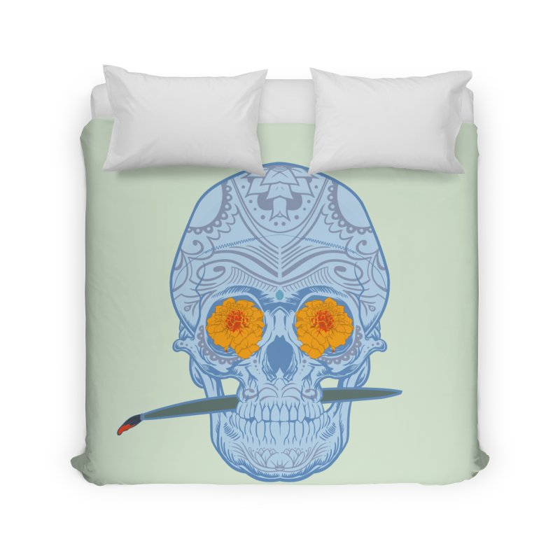 Sugar Skull white Home Duvet by Dedos tees