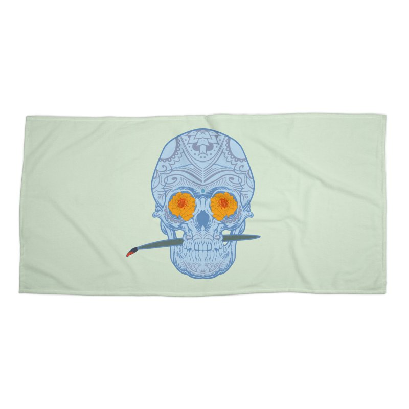 Sugar Skull white Accessories Beach Towel by Dedos tees