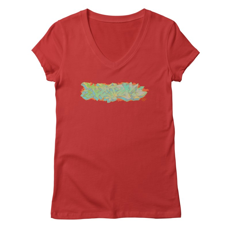 Dedos Graffiti letters 5 Women's V-Neck by Dedos tees