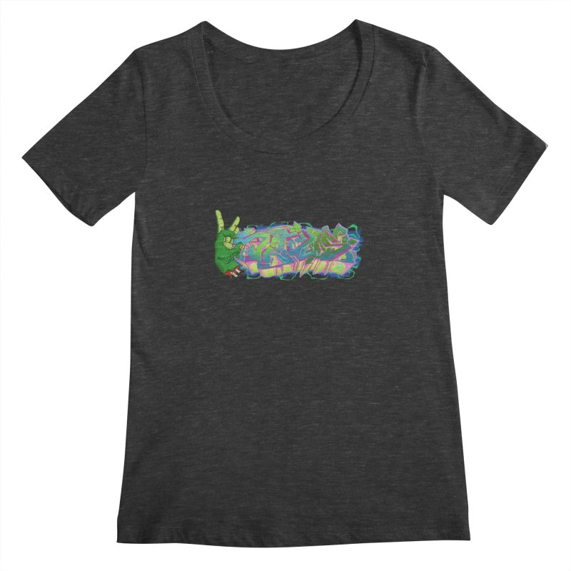 Dedos Graffiti letters 2 Women's Scoopneck by Dedos tees