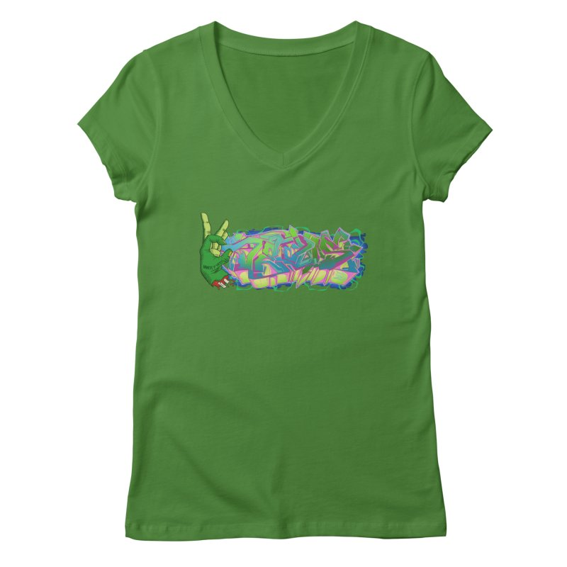 Dedos Graffiti letters 2 Women's V-Neck by Dedos tees