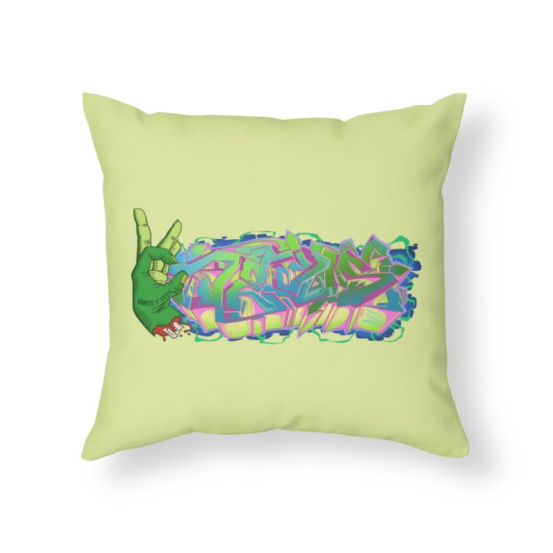 Dedos Graffiti letters 2 Home Throw Pillow by Dedos tees