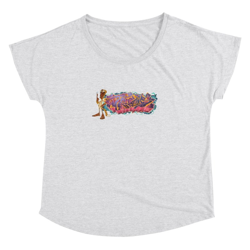Dedos Graffiti letters 3 Women's Dolman Scoop Neck by Dedos tees