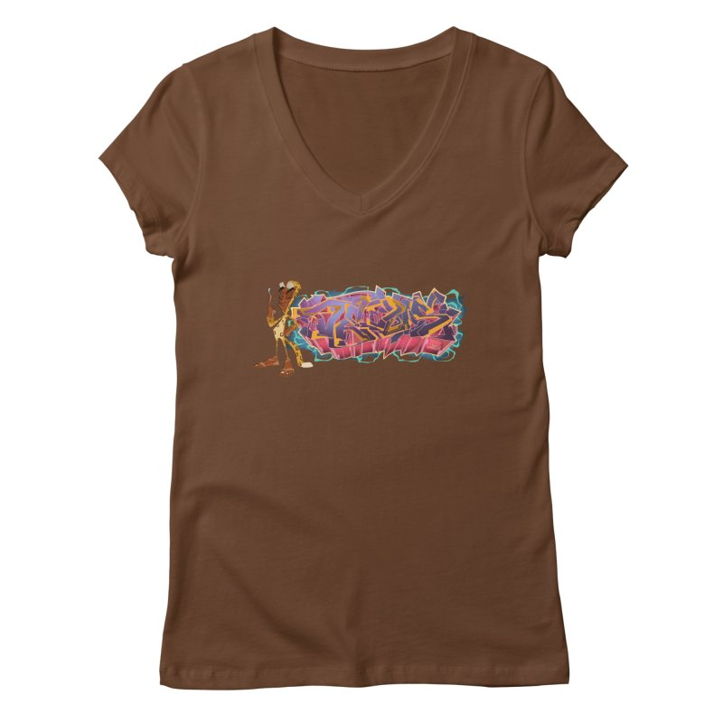 Dedos Graffiti letters 3 Women's V-Neck by Dedos tees