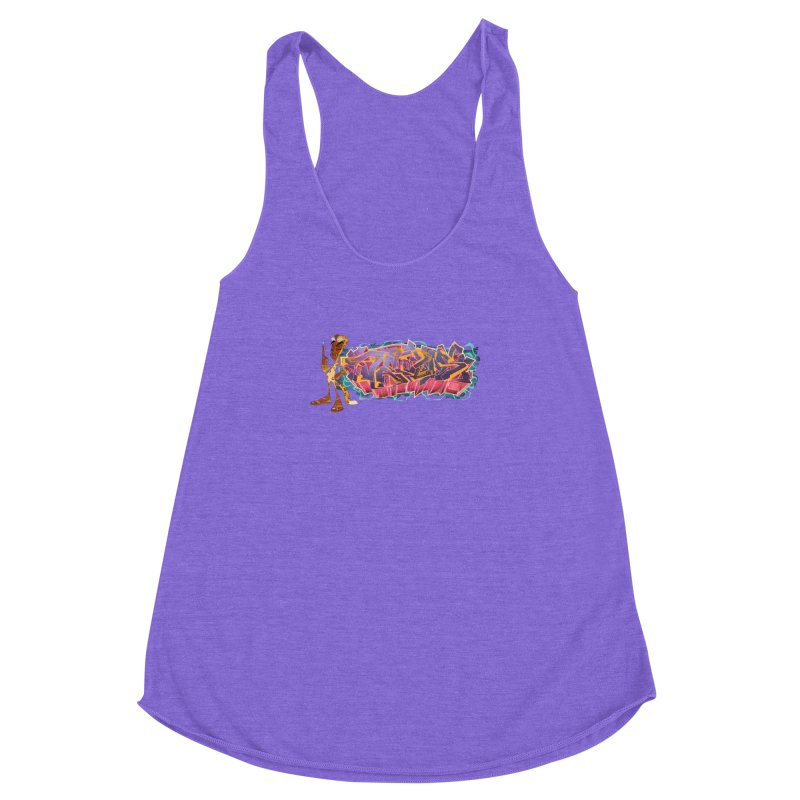 Dedos Graffiti letters 3 Women's Racerback Triblend Tank by Dedos tees