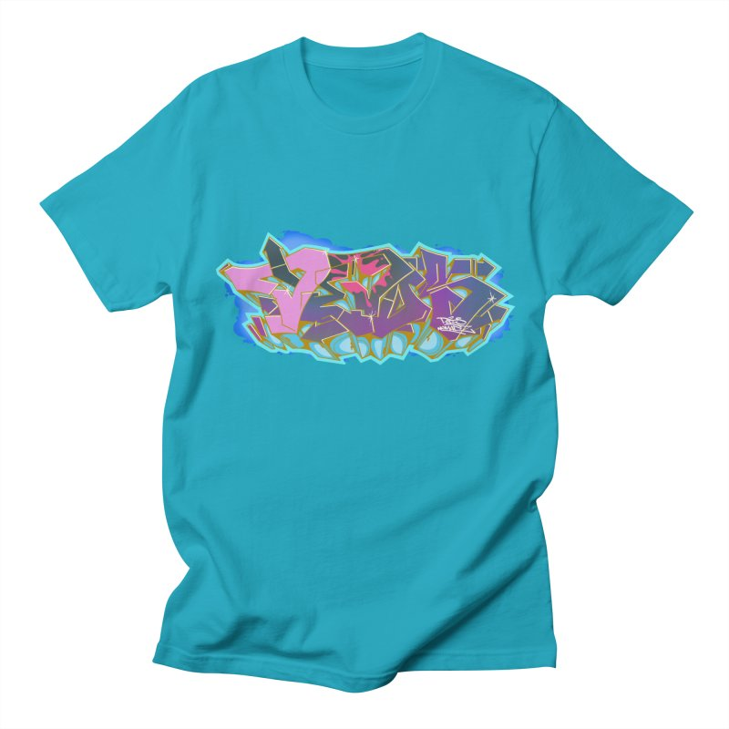 Dedos Graffiti letters 4 in Men's Regular T-Shirt Cyan by Dedos tees