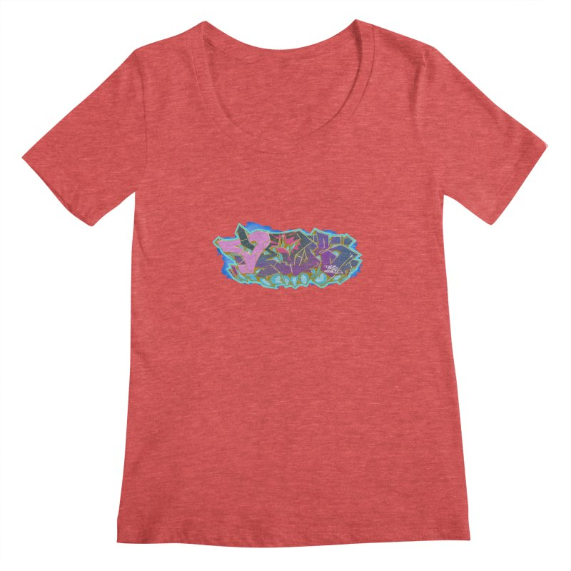 Dedos Graffiti letters 4 Women's Scoopneck by Dedos tees