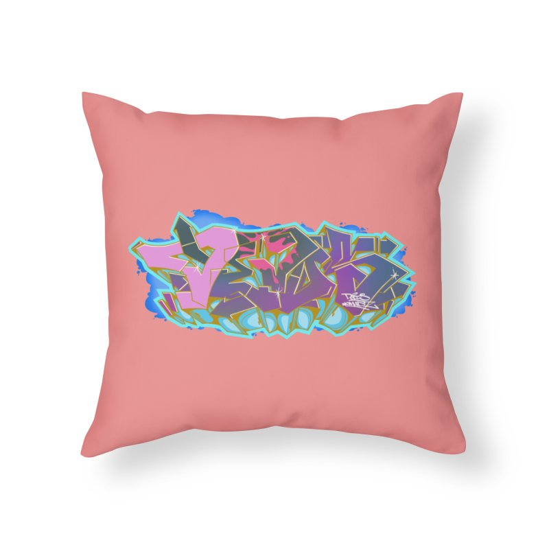 Dedos Graffiti letters 4 Home Throw Pillow by Dedos tees