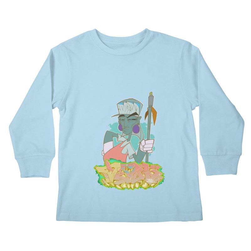 Bboy Azteca Kids Longsleeve T-Shirt by Dedos tees