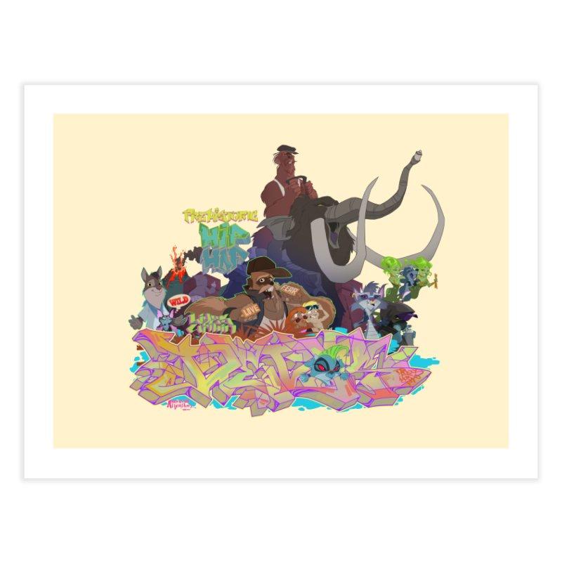 Prehistoric hip Hop Home Fine Art Print by Dedos tees