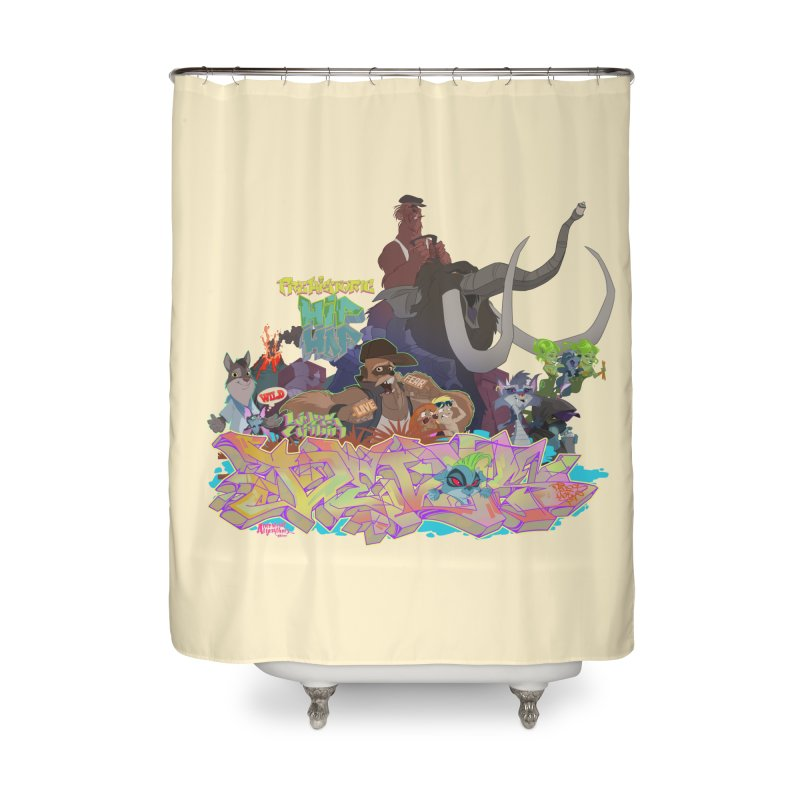 Prehistoric hip Hop Home Shower Curtain by Dedos tees