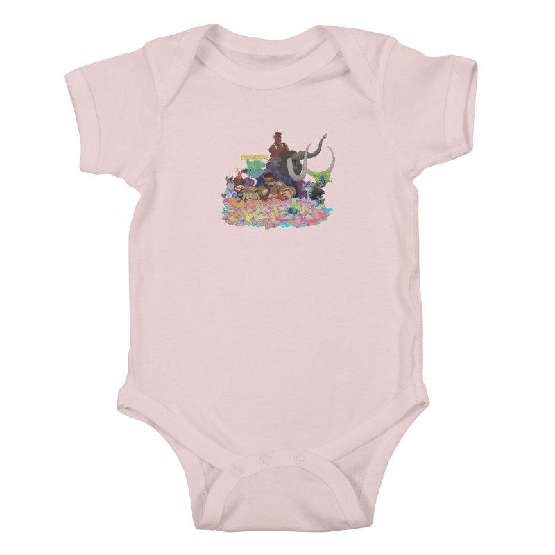 Prehistoric hip Hop Kids Baby Bodysuit by Dedos tees