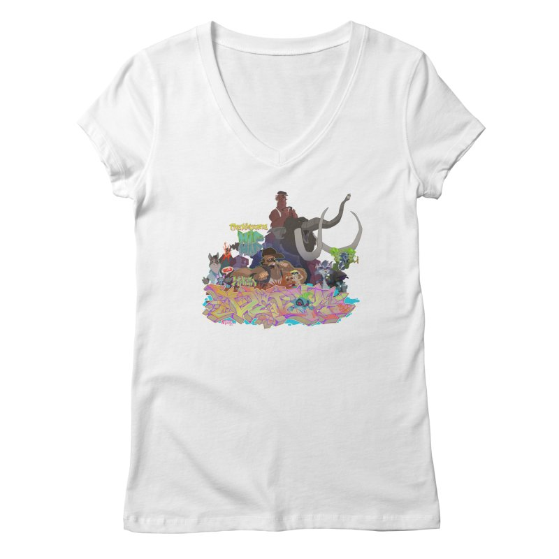 Prehistoric hip Hop Women's Regular V-Neck by Dedos tees