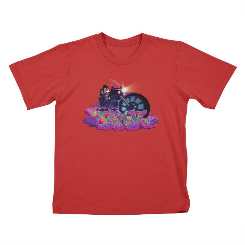 Dedos purple rain Kids T-Shirt by Dedos tees