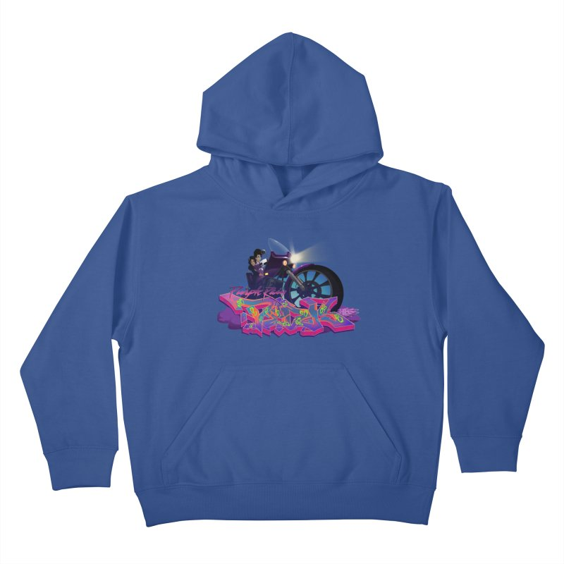 Dedos purple rain Kids Pullover Hoody by Dedos tees