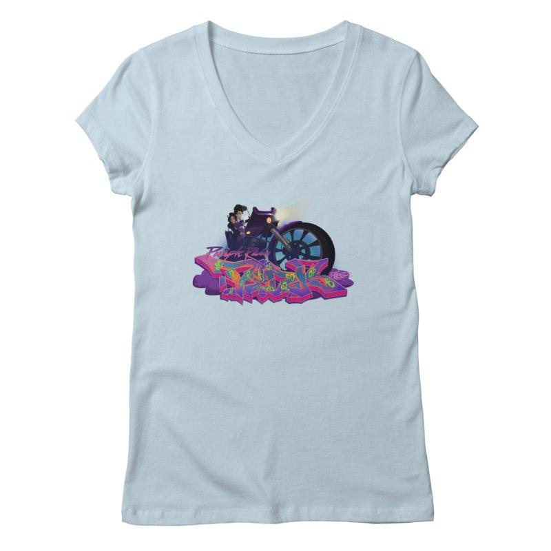 Dedos purple rain Women's Regular V-Neck by Dedos tees