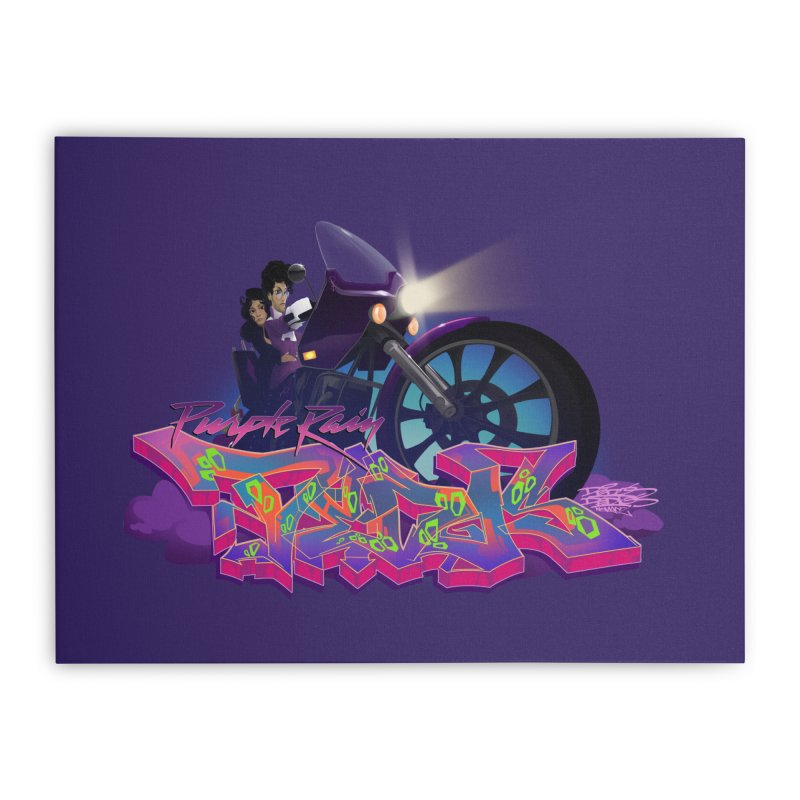 Dedos purple rain Home Stretched Canvas by Dedos tees