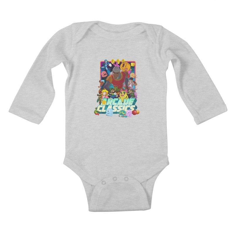 ARCADE CLASSICS 1 Kids Baby Longsleeve Bodysuit by Dedos tees