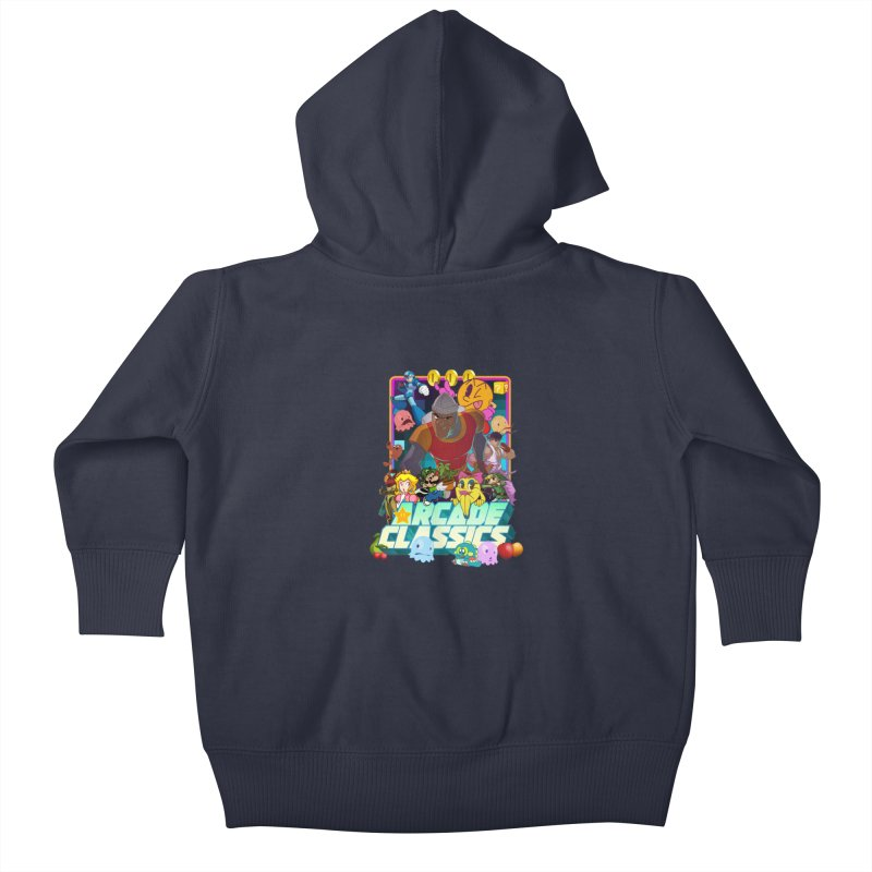 ARCADE CLASSICS 1 Kids Baby Zip-Up Hoody by Dedos tees