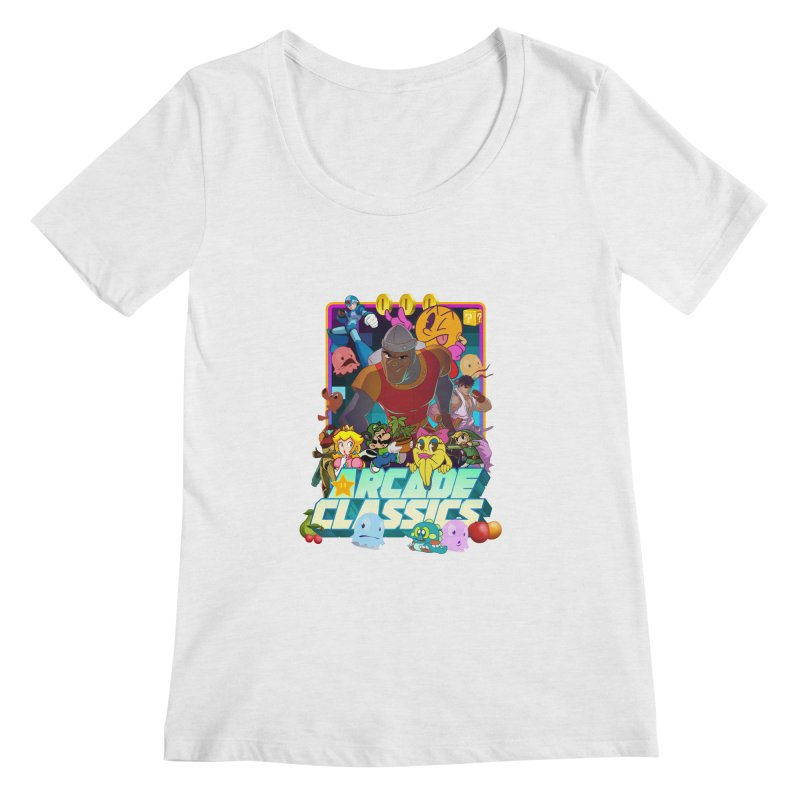ARCADE CLASSICS 1 Women's Regular Scoop Neck by Dedos tees