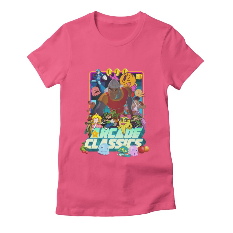 ARCADE CLASSICS 1 Women's Fitted T-Shirt by Dedos tees