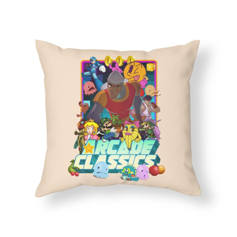 ARCADE CLASSICS 1 Home Throw Pillow by Dedos tees