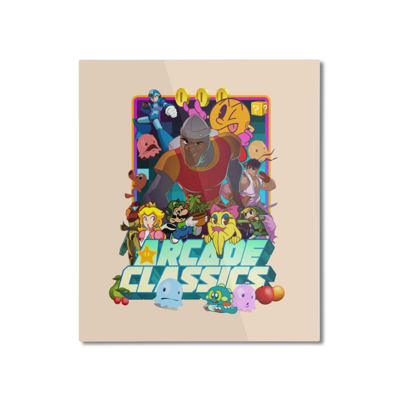 ARCADE CLASSICS 1 Home Mounted Aluminum Print by Dedos tees