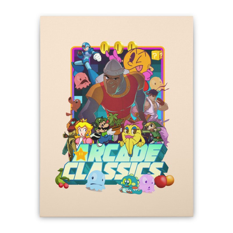 ARCADE CLASSICS 1 Home Stretched Canvas by Dedos tees