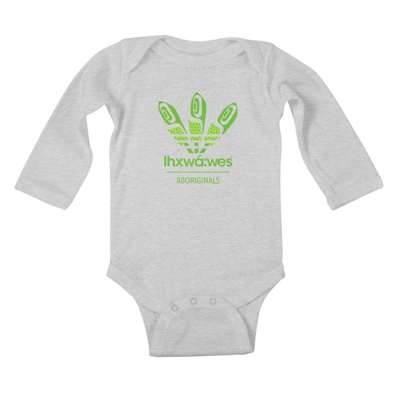 aboriginals green Kids Baby Longsleeve Bodysuit by Dedos tees