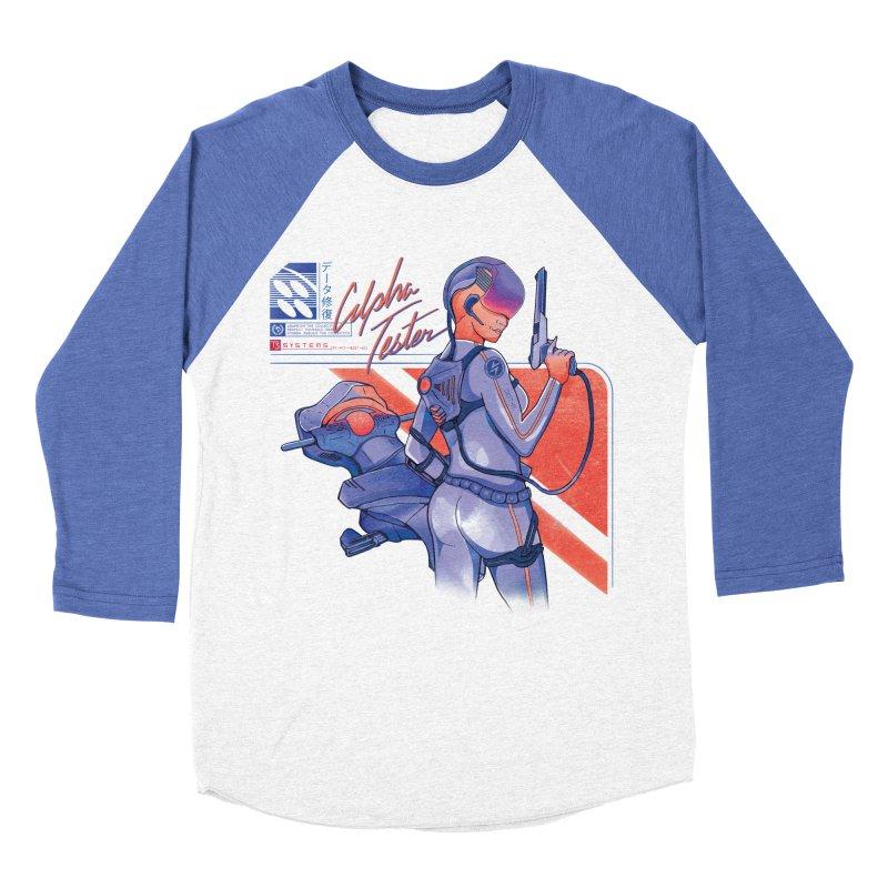 Alpha Tester in Men's Baseball Triblend Longsleeve T-Shirt Tri-Blue Sleeves by Dega Studios
