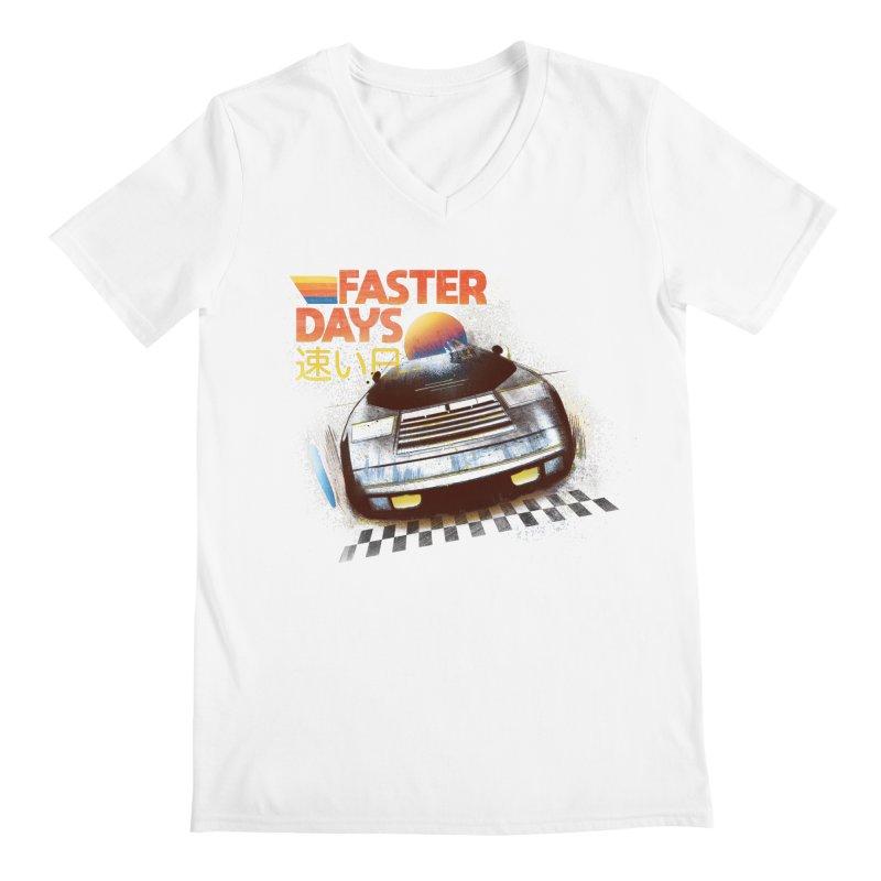 Faster Days Men's V-Neck by Dega Studios
