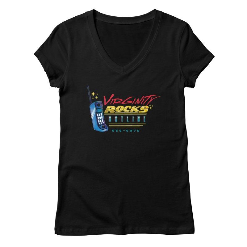 Virginity ROCKS Hotline Women's V-Neck by Dega Studios