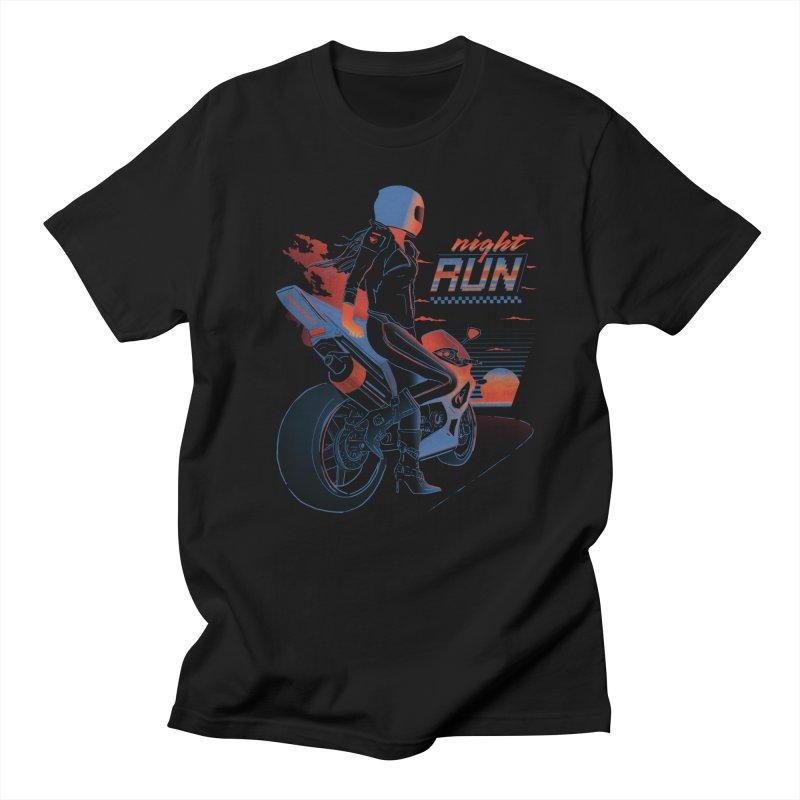 Night Run in Men's Regular T-Shirt Black by Dega Studios