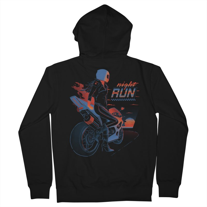 Night Run Men's French Terry Zip-Up Hoody by Dega Studios