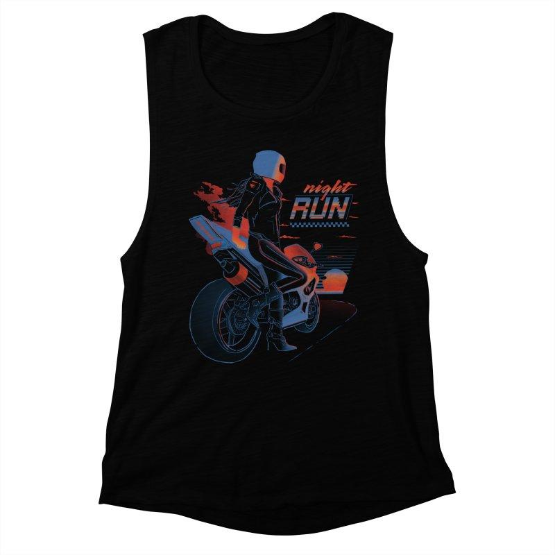Night Run Women's Muscle Tank by Dega Studios