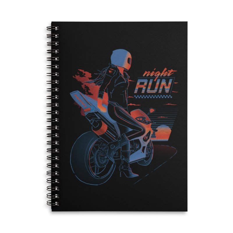 Night Run Accessories Lined Spiral Notebook by Dega Studios