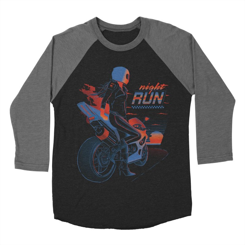 Night Run Women's Baseball Triblend Longsleeve T-Shirt by Dega Studios