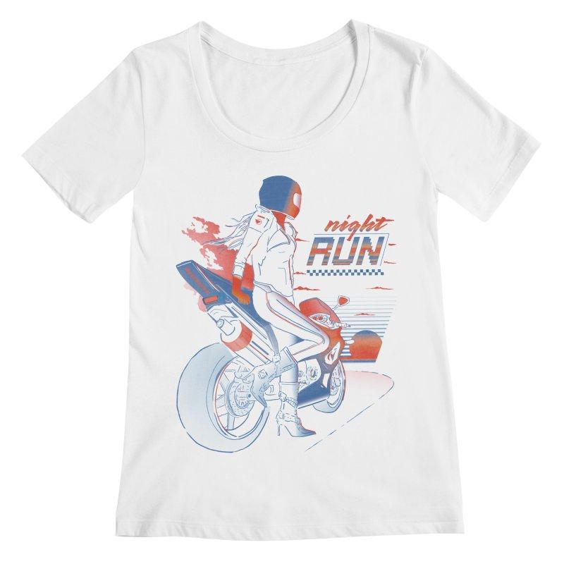 Night Run Women's Scoopneck by Dega Studios