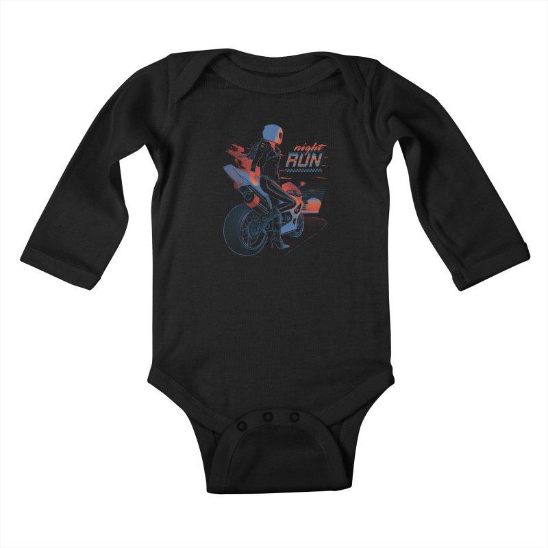 Night Run Kids Baby Longsleeve Bodysuit by Dega Studios