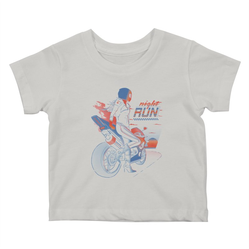 Night Run Kids Baby T-Shirt by Dega Studios
