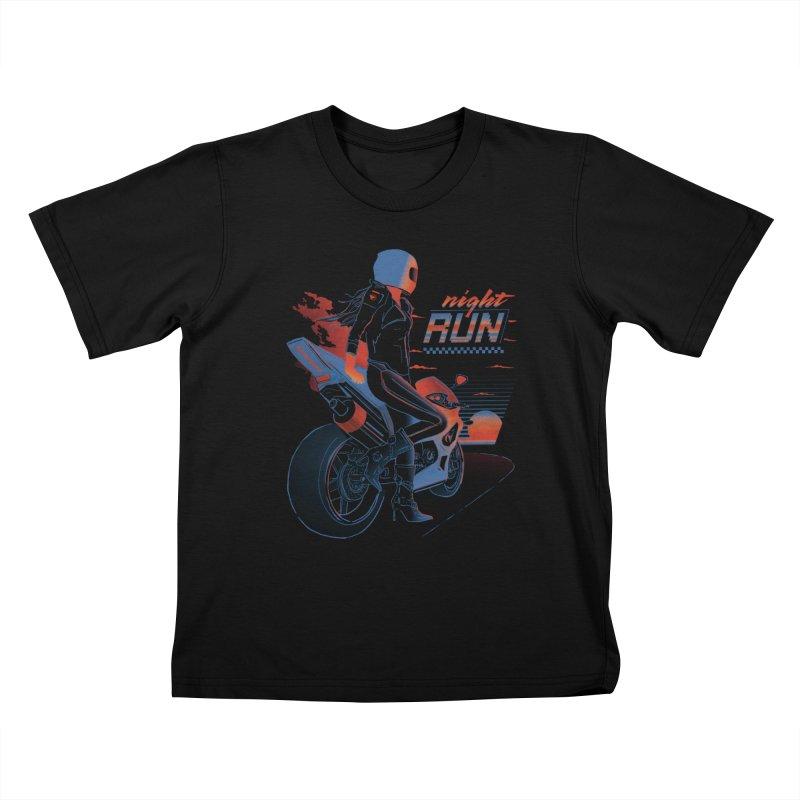 Night Run Kids T-Shirt by Dega Studios