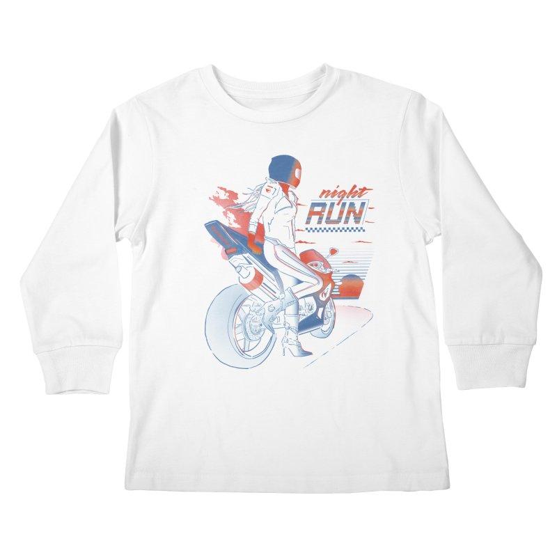 Night Run Kids Longsleeve T-Shirt by Dega Studios