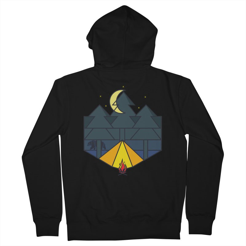 Night camp fire Men's Zip-Up Hoody by delcore's Artist Shop