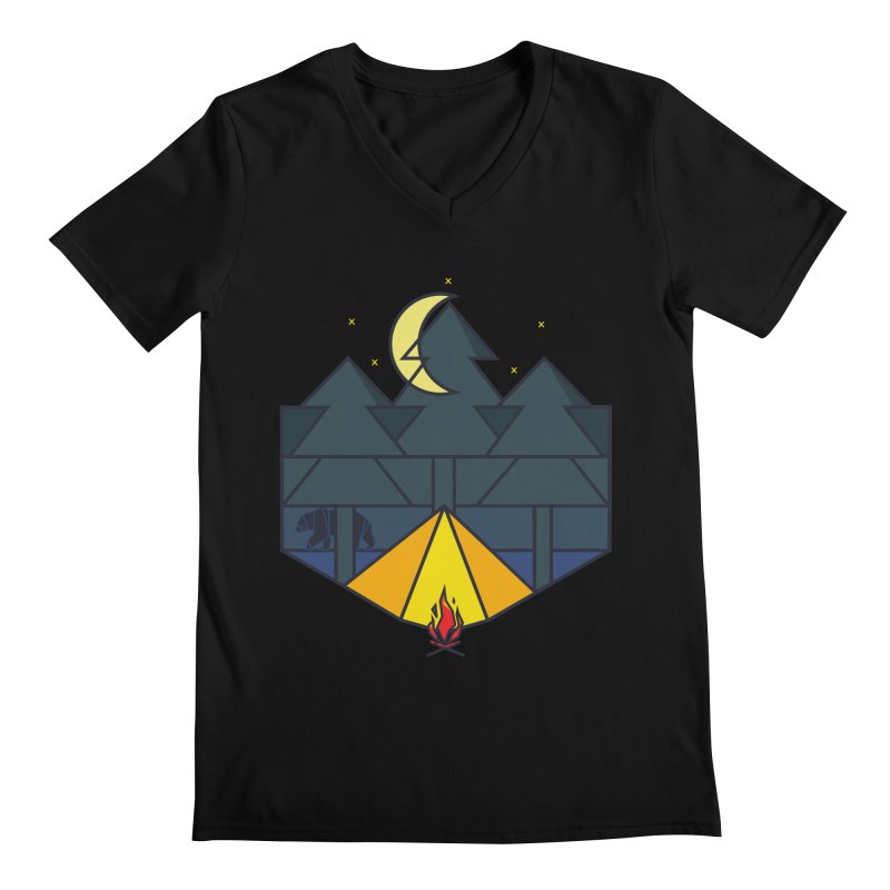 Night camp fire Men's V-Neck by delcore's Artist Shop