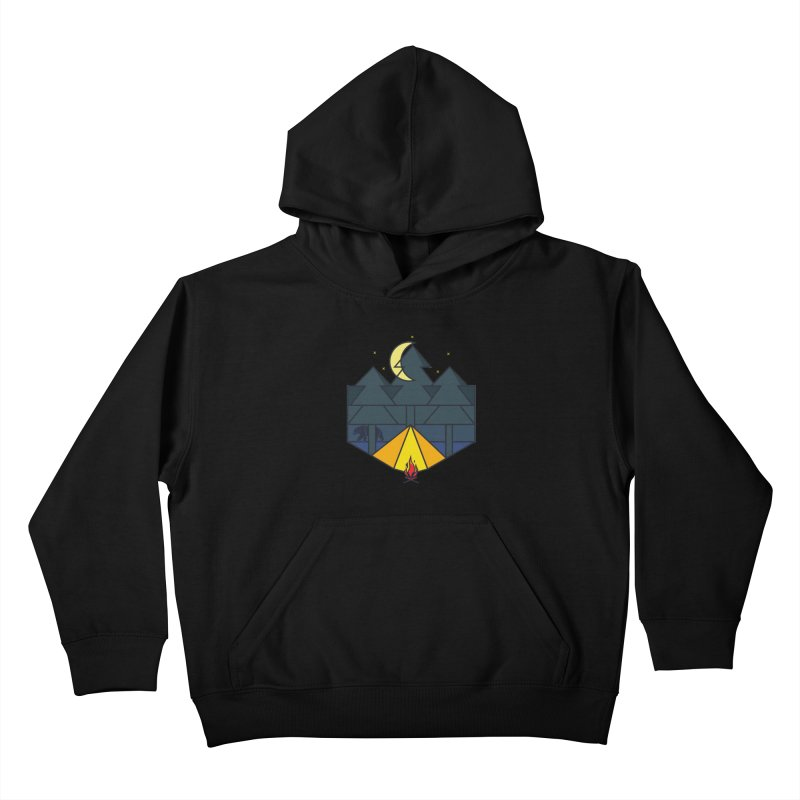 Night camp fire Kids Pullover Hoody by delcore's Artist Shop