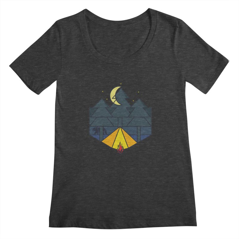 Night camp fire Women's Scoopneck by delcore's Artist Shop